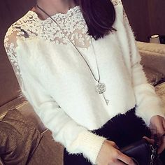 YIYI Women's Lace White / Black Tops & Blouses , Sexy / Casual / Work V-Neck Long Sleeve – GBP £ 10.94
