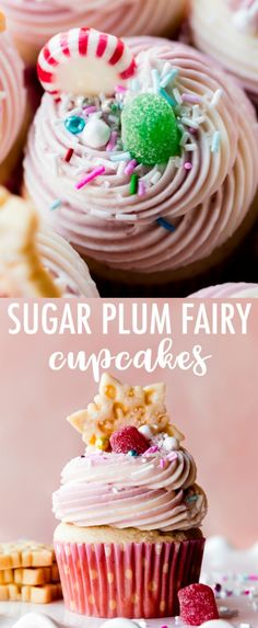 These magical Sugar Plum Fairy Cupcakes are lightly spiced with cinnamon and nutmeg, flavored with vanilla and almond, and are filled with fruity jam. Top with vanilla almond buttercream and an array of candies for a perfectly festive Nutcracker treat! Recipe on sallysbakingaddiction.com