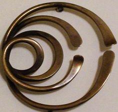 Art Smith Modernist Brass Jewelry Mid Century Vintage Designer Brooch Pin   eBay
