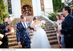 Happy newly weds & confetti | Photographers: Nikki Meyer, Wedding Dress: Alana van Heerden- Fashion & Bridal, Zara Man: Groom's Suit