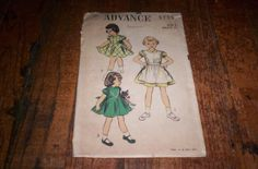 vintage sewing pattern advance 5755 childs girls by robinsvintage, $3.00