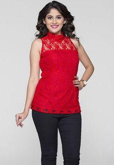 ITI Sleeve Less Solid Red Top RS.999/-