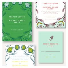 Pinecone wedding invitations by Sycamore Street Press