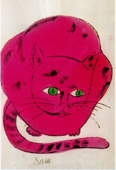 Andy Warhol Chat / Cat (Sam) Lithographie aquarellée / Watercolor lithograph 22 x 14 cm 1954 Andy Warhol Pop Art, Andy Warhol Drawings, Illustrations, Illustration Art, Pittsburgh, Johannes Itten, Here Kitty Kitty, Love Art, Cat Art