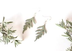 Sprig of Hemlock Leather Earrings Leather Earrings, Leather Jewelry, Green Leather, Ethereal, Cottage, Charmed, Boutique, Sterling Silver, Accessories
