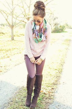 Gorgeous fall or spring outfit with pastels: lavender plum pants, rose pink shirt, tall brown riding boots, colorful floral infinity scarf