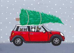 Red Mini Cooper Christmas Cats Original Folk Art Painting by KilkennycatArt