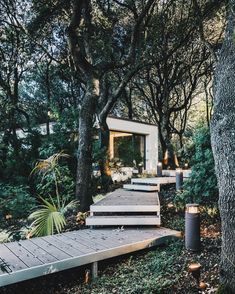 Outbuilding of the Week: A Sardinian Guest House in the Trees – Gardenista deck-walkway-path-to-modern-house-in-forest-sardinia Landscape Architecture, Landscape Design, Garden Design, House Design, Italy Architecture, Studios Architecture, Pavilion Architecture, Chinese Architecture, Architecture Office