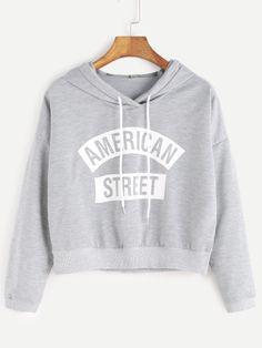 Grey Hooded Letter Print Crop Sweatshirt