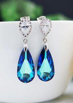 Bermuda Blue Swarovski Crystal Bridal Earrings