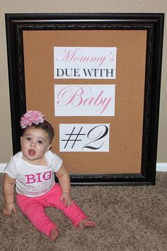 """Baby Announcement Pregnancy Announcement Baby #2 Announcement """"Mommy's Due with Baby #2""""  www.themilehighmom.com"""