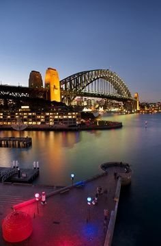Sydney Harbor Bridge, Sydney, Australia - Night, lights
