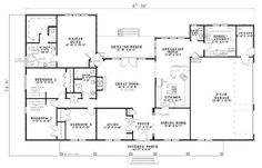 Traditional Style House Plan - 4 Beds 2.5 Baths 2804 Sq/Ft Plan #17-638 Floor Plan - Main Floor Plan - Houseplans.com