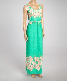 Green Floral Sleeveless Maxi Dress