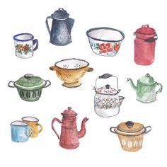 Vintage enamel pots and pans by Sanny van Loon