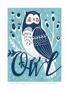 Original Linocut print Owl in 2 colours unframed от Printenstein