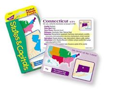 """States & Capitals Pocket Flash Cards by Trend Enterprises Inc.. $5.25. Pack Sold as 1 Each. Colorful cards show each state in its regional context. 50 United States cards, 3 outlying area cards, 2 game and activity cards, and 1 information card. Ideal for home, school, or travel. 56 two-sided cards per set, with quick-sorting rounded corners. Handy 3 1/8"""" x 5 1/4"""" size."""