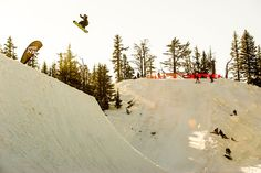 Austin Hironaka on the Loon Mountain hip at Superpark 17 photo: E-Stone | Snowboarder Magazine