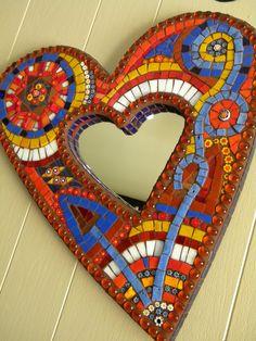 Crazy Heart Mosaic Mirror Original Art by TheMosartStudio on Etsy