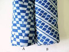 Block printed indigo mudcloth fabric clam shell blue cotton