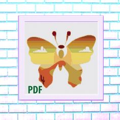 Butterfly Modern Cross Stitch Pattern, orange- landscape, Desert, needlepoint-DIY, insect, nature, embroidery, Instant download PDF by ItsStitchy on Etsy Sugar Skull Halloween, Bird Skull, Modern Cross Stitch Patterns, Colorful Pictures, Cross Stitching, Needlepoint, Pdf, Butterfly, Embroidery