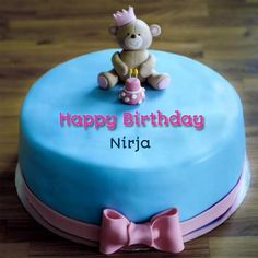 Cute First Name Birthday Cake for Girl with Teddy Bear