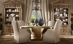 Rooms | Restoration Hardware - slipcovered dining chairs