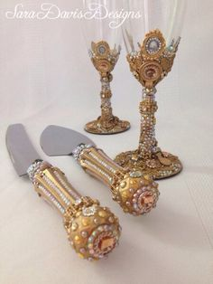 Gold Cake Server and Toasting Flute Set, Gold Toasting Flutes, Renaissance Wedding, Gold Wedding Cake Server and Knife, Royal Wedding by SaraDavisDesigns on Etsy https://www.etsy.com/listing/233444047/gold-cake-server-and-toasting-flute-set