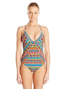 4e1cf251bbb01 Trina Turk Women s Peruvian Stripe V-Neck One Piece Swimsuit at Amazon  Women s Clothing store