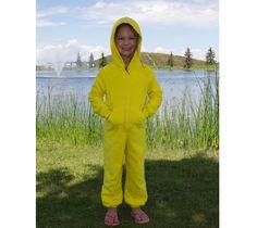 EZ Dry Onezie in yellow. The original children's towel onesie.