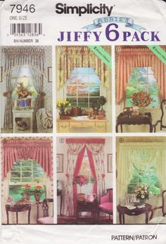 2 Hour Valence & Swags, Tailored Drapes, Festoon Swag, For Double Hung Windows 36 Inches Wide, 52 Inches Long, Simplicity Pattern 7946 by TheGrannySquared on Etsy