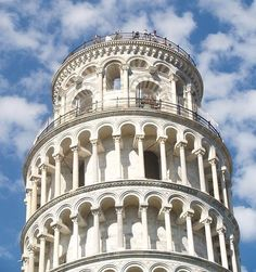 Pisa Tower, Italy - Romanesque architecture and my students from RMA.  The climb to the top was torture on a hot day -- but well worth the view!