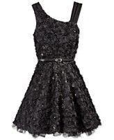 Beautees Girls' Belted Soutache Dress