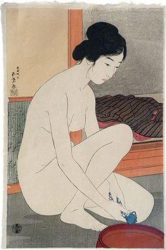 Woman Bathing, 1915. By Hashiguchi Goyo, 1880-1921. Lovely colours.