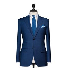 Tailored 2-Piece Suit – Fabric 4580 Windowpane Blue Cloth weight: 240g Composition: 100% Wool Super 130's