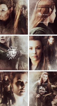 Tauriel: It is our fight. It will not end here. With every victory this evil will grow. If your father has his way, we will do nothing. We will hide within our walls, live our lives away from the light and let darkness descend. Are we not part of this world? Tell me, Mellon, when did we allow evil to become stronger than us?