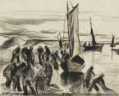PECHSTEIN Hermann Max, 1881-1955 (Germany) Title : Fischer mit Booten an der Lupow-Mündung in Pommern Date : 1930