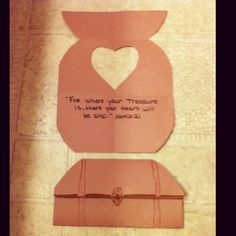 "Matthew 6:21 ""For where your treasure is, there your Heart will be also.""  Treasure chest craft. Fold paper in half long ways. Unfold. Fold the paper so the bottom 2/3 are larger to the top 1/3 which will be the ""lid"" to your chest. Unfold again and in the middle segment is where the heart is cut out. Then write out the verse. I let the kids decorate the chest. I also read about the merchant seeking a fine pearl and it being like the Kingdom of Heaven. Then gave them a faux pearl on clear…"