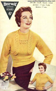 Knitting Patterns Vintage Wonderful Lace Insert Twin Set Jumper and Bolero 34 to Bust Bestway Vintage Knitting Patte… Knitting Patterns Free, Knit Patterns, Vintage Patterns, Knitting Ideas, Vintage Knitting, Vintage Crochet, Vintage Outfits, Vintage Fashion, 1950s Fashion