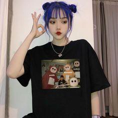 Unisex Meme Funny Summer Women's Short Sleeve Casual Large Size Loose T Shirt Pastel Grunge, Grunge Girl, Looks Hip Hop, Summer Humor, Funny Summer, Ulzzang Korean Girl, Hair Color Dark, Neck Collar, Aesthetic Girl
