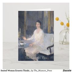 Seated Woman Ernesta Thinking Of You Card Wedding Announcements, Single Image, Custom Greeting Cards, Thoughtful Gifts, Your Cards, Thinking Of You, White Dress, Paintings, Pillows