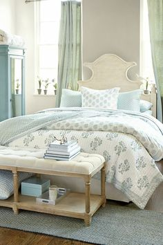 Lovely pastels with fabulous furniture for a beach inspired bedroom. www.aftershocksinteriordecorating.com