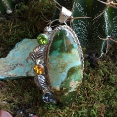Royston Turquoise Pendant set in Sterling Silver by fall4handmade