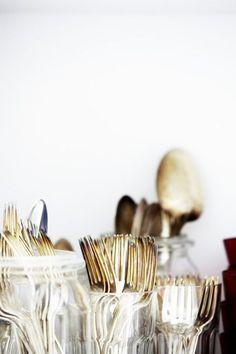 golden utensils.
