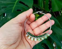 Green Beaded Hoop Earrings, Beaded Wire Hoop Earrings. Silver Plated Hoop Earrings with Faceted Glass Beads, Large Hoops, Boho Earrings Faceted Glass, Glass Beads, Bohemian Flowers, Boho Earrings, Silver Plate, Jewelry Making, Board, Handmade, Etsy