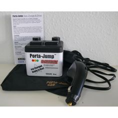 The Porta Jump reusable emergency jump starter is a necessity for any car safety kit. This small but durable portable jump starter plugs into the lighter socket and charges the battery within minutes, eliminating the need for jumper cables.