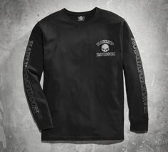 The fierce graphics will get him noticed. The black cotton jersey and rib knit trim and cuffs will keep him comfortable. | Harley-Davidson Men's Skull Long Sleeve Tee