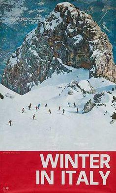 Vintage ski poster. Italy In Winter - Italian Travel Ski Poster Date- ca 1960s #lulusholiday