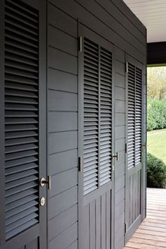 Black exterior for pool house & Louvered Shutter/Doors for dogtrot porch or breezeway :: Would also ...