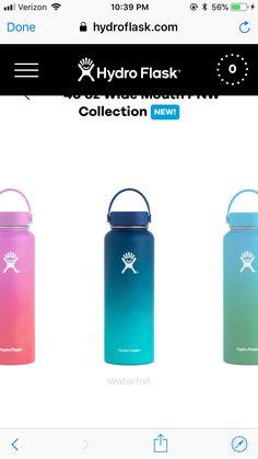 Hydro Flask Colors, Hydro Flask 40 Oz, Hydro Flask Water Bottle, Pink Water Bottle, Cute Water Bottles, Best Water Bottle, Water Bottle Design, Decorated Water Bottles, Gold Shelves